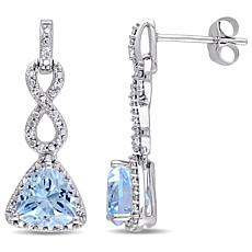 2.95ctw Blue Topaz and Diamond 10K Infinity Earrings