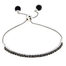 2ctw Black Diamond and Spinel Sterling Silver Adjustable Bracelet