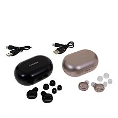 2pk Toshiba Amp Truly Wireless Sweat-Resistant Earbuds w/Charging Case