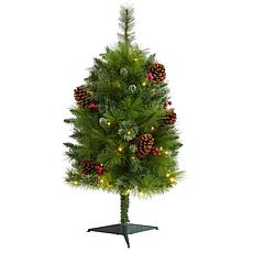 3 ft. Montana Mixed Pine Artificial Christmas Tree with Pine Cones,...