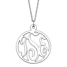 3-Initial Round Monogram Silver Pendant with Rope Chain