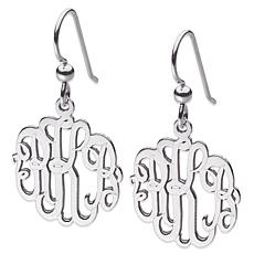 3-Initial Script Monogram Sterling Silver Drop Earrings