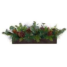 """30"""" Evergreen Pine and Pine Cone Christmas Centerpiece"""