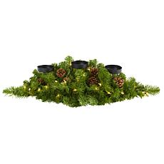 30 in. Christmas Artificial Pine Triple Candelabrum with 35 Clear L...