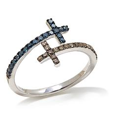 .30ctw Blue and Champagne Diamond Bypass Cross Ring