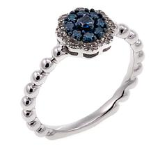 .31ctw Colored and White Diamond Cluster Sterling Silver Ring