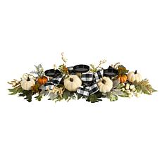 32 in. White Pumpkin and Berries Artificial Candelabrum