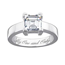3.33ctw Square CZ Engraved Silver Engagement Ring