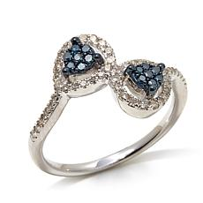 .33ctw Blue and White Diamond Pear Bypass Ring