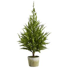 3.5 ft. Cedar Pine Natural Look Artificial Tree in Decorative Planter