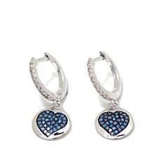 .35ctw Blue and White Diamond Heart Drop Earrings