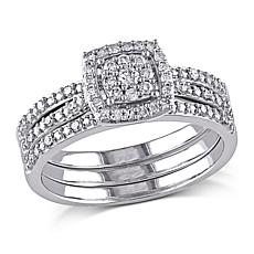 .35ctw Engagement Ring and Wedding Band 10K Gold 3pc Se
