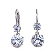 3.74ctw Absolute™ Sterling Silver Double Drop Earrings