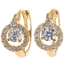 .37ctw Absolute™ 10K Pavé Frame Hugger Hoop Earrings