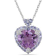 3.81ctw Amethyst, Tanzanite and Diamond 10K Pendant