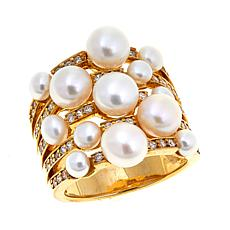4-5mm Cultured  Pearl and CZ Multi-Row Ring