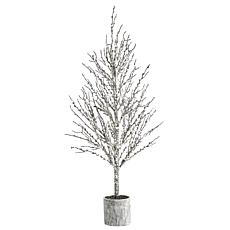4 ft. Snowed Twig Artificial Tree in Decorative Planter