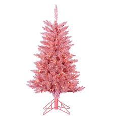 4' Pink Tuscany Tinsel Tree - 150 Clear Lights