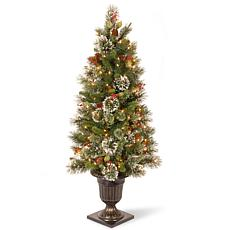 4' Wintry Pine Entrance Tree w/Lights