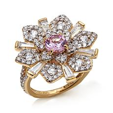 4.31ctw Absolute™ Clear and Pink Floral Ring