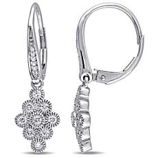 .47ctw Diamond 14K White Gold Cluster Drop Earrings