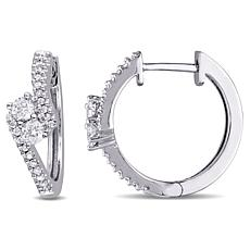 .50ctw Diamond 14K White Gold Bypass Hoop Earrings