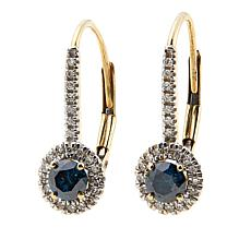 .53ctw Colored and White Diamond 10K Lever-Back Earrings