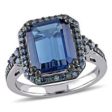 5.57ctw London Blue Topaz and Blue Diamond 14K Ring