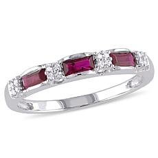 .58ctw Ruby and Diamond 10K  Baguette and Pavé Ring