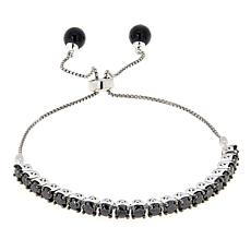 5ctw Black Diamond and Spinel Sterling Silver Adjustable Bracelet