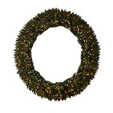 6' Large Flocked Christmas Wreath with 600 Lights
