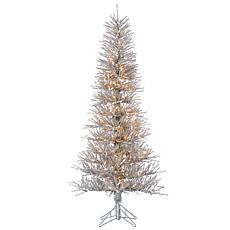 6' Lighted Tinsel Twig Tree - Silver