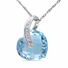 6.53ctw Blue Topaz and Diamond 10K Heart Pendant