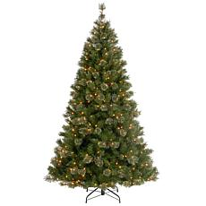 7-1/2' Aspen Spruce Hinged Tree w/Lights