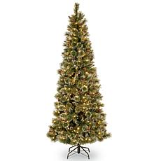 7-1/2' Glittery Bristle Slim Pine Tree w/Lights