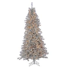 7-1/2' Silver Curly Tinsel Tree - 550 Clear Lights
