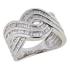 .71ctw White Diamond Infinity Sterling Silver Twisted Wave Ring