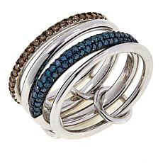 .74ctw Champagne and Blue Diamond 4-piece Stackable Band Rings