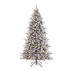 7.5' Flocked Artificial Birmingham Fir/400 Clear Lights Christmas Tree