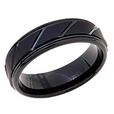 7mm Black Tungsten Grooved Band Ring