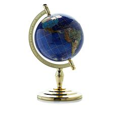 "8-1/2"" Inlaid Gemstone Lapis-Color Globe"