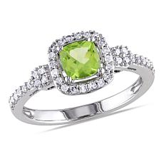 .81ctw Peridot and Diamond 10K  Cushion Halo Ring
