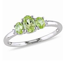 .87ctw Peridot and Diamond 10K  Round 3-Stone Ring