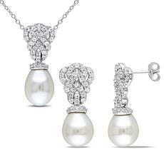 9-9.5mm Cultured Pearl and White Sapphire Vintage Pendant and Earrings