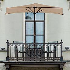 9' Half-Round Patio Umbrella with Easy Crank - Sand