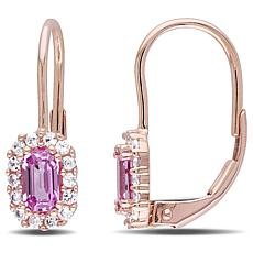 .98ctw Pink and White Sapphire 10K Leverback Earrings