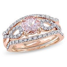 .99ctw Pink Morganite and Diamond 10K 3-piece Ring Set