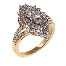 .99ctw White Diamond Cluster 10K Cocktail Ring