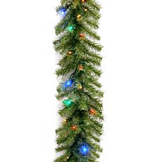 9'Battery-Operated Fir Garland w/Multicolor