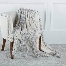 A by Adrienne Landau Faux Fur Throw with Tails
